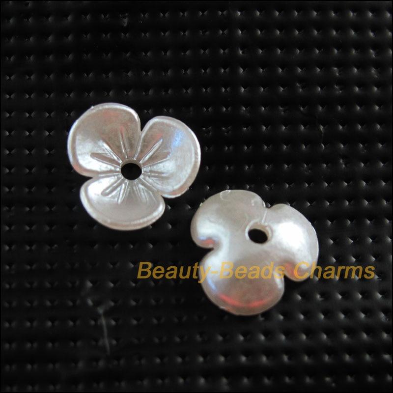 100 Neue Charms Acryl Kunststoff Blume Herz Spacer Ende Bead Caps Weiß 9,5mm