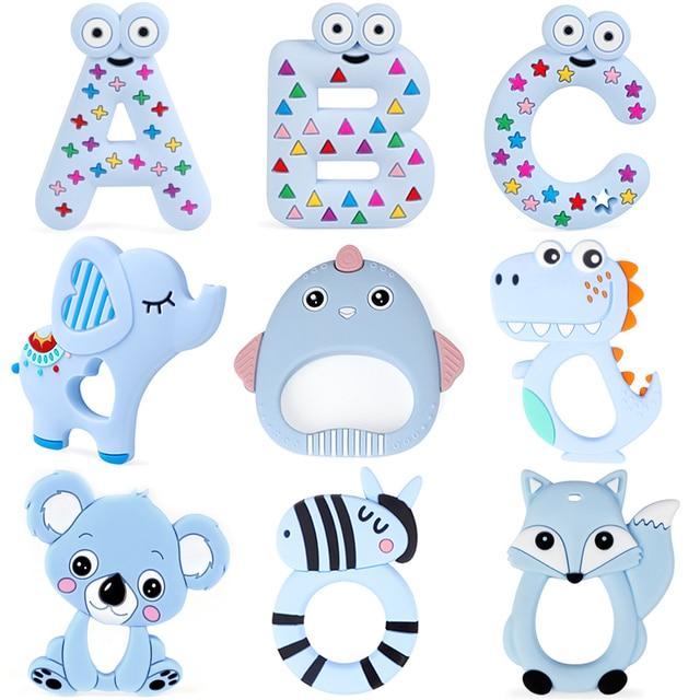 10pc Silicone Teether Cartoon Koala Fox Elephant Dinosaur Food Grade Teether Teething Toy DIY Baby Gifts Pacifier Chain