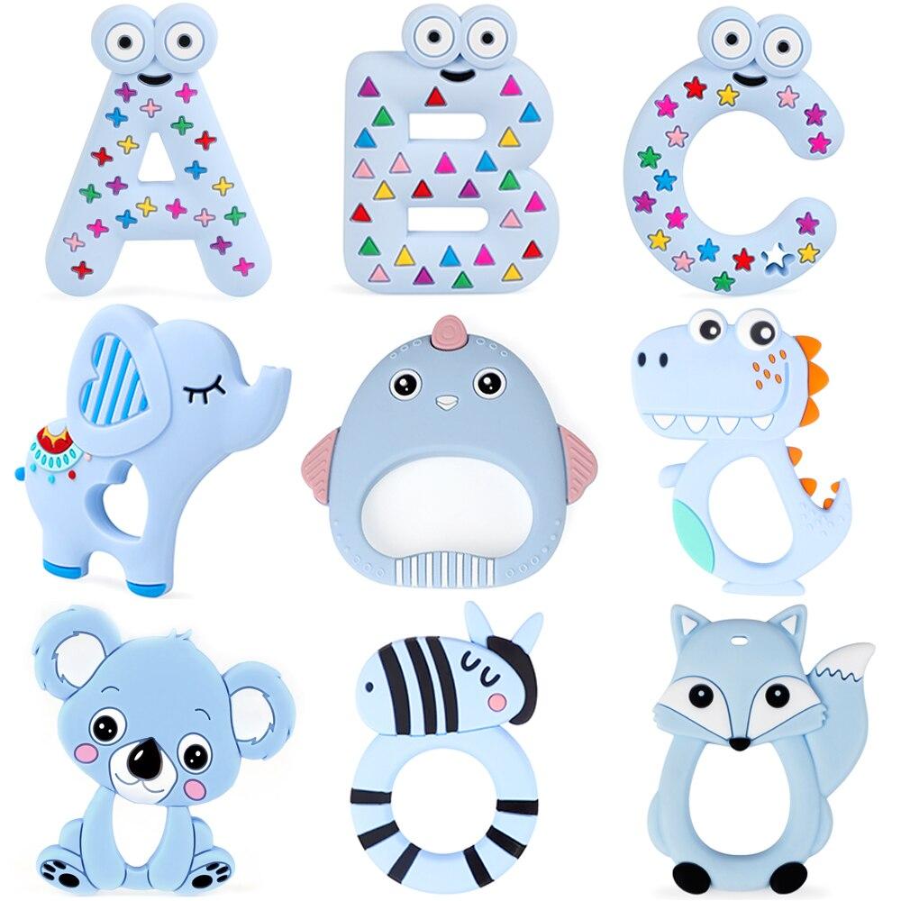 TYRY.HU 10pc Silicone Teether Cartoon Koala Fox Elephant Dinosaur Food Grade Teether Teething Toy DIY Baby Gifts Pacifier Chain