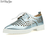 Summer Platform Oxfords Silver Creepers Cut Out Platform Shoes Woman Lace Up Flat Pointed Toe Casual