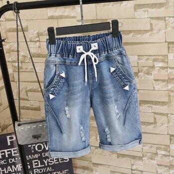 2018 Plus size 4XL 5XL Summer Ripped Jeans Short Pants Women Casual Lace Up Capris Ladies Wide Leg Denim Jeans Harem Pants C3200
