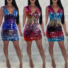 Women Sequin Short Mini Dress Ladies Deep V-Neck Bodycon Sleeveless  Evening Party Dresses Back Zipper S-2XL