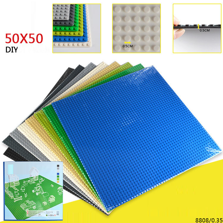 50 50 Points Small Building Blocks Base Plate 40 40CM Small Bricks Baseplate Construction Toys For