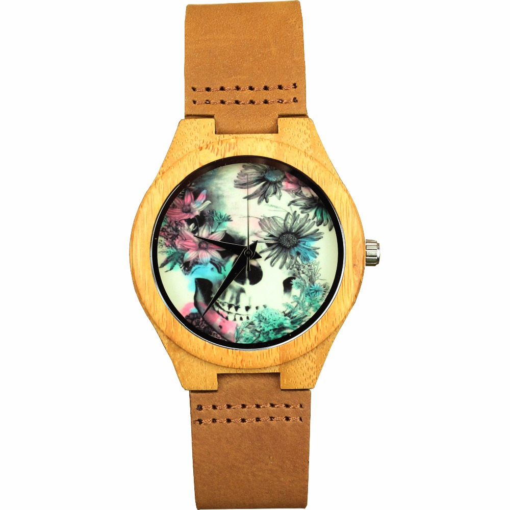 Women Watches Top Brand Luxury Wood Watch Skull Flower Design Natural Bamboo Genuine Leather Strap Handmade Wristwatch