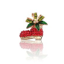 New Christmas Boots Stitches And Women's Brooch Gold Needles Rhinestones Flowers Christmas Shoes Brooch Girls Brooch Jewelry rhinestones christmas hat brooch