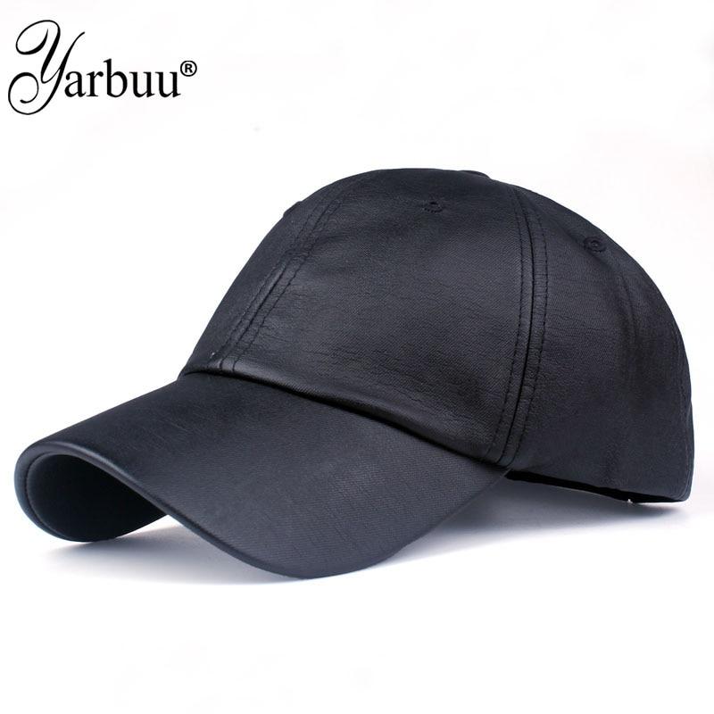 4a3b326de1c  YARBUU  new fashion PU black Baseball Cap women Hats For men fall Leather  cap