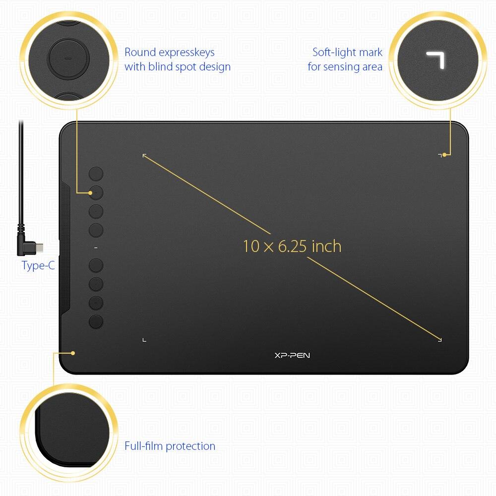 XP-stylo déco 01 V2 dessin tablette graphique numérique avec inclinaison pour Android et 8 touches de raccourci (8192 niveaux de pression) pour débutant - 2