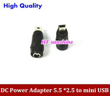 DHL Free Shipping 1000PCS DC Power Adapter 5.5 *2.5 Female to Mini USB Male Adapter 5.5MM TO Mini USB 5P High Quality