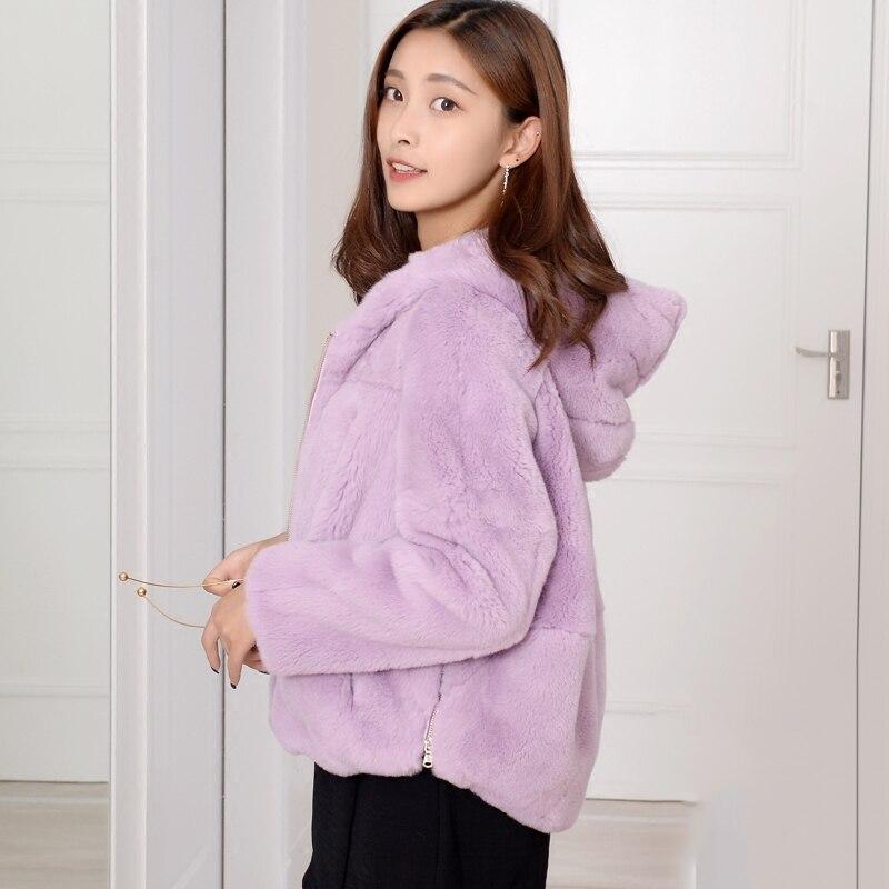 Coupe ample naturel Rex fourrure de lapin manteaux survêtement femmes à capuche courbe forme taille Zip Up réel fourrure vestes grande taille automne hiver - 5