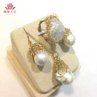 Newest Pop DIY Design! Fashionable Freshwater Pearl Set With Mixed 14G Light Yellow Gold Color Metal.
