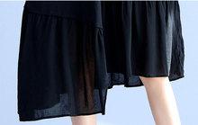 DIMANAF Women Summer Dress Plus Size Solid Print Draped O-Neck Cotton Patchwork Female Fashion Black 2017 Lady T-Shirt Dresses