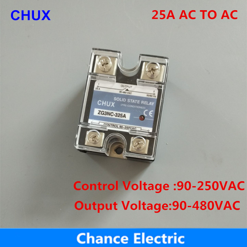 25AA SSR 25A SSR-25AA AC to AC 220V Output 90-480V Single Phase Solid State Relay 4 20ma to ac 28 280v 25a one phase 35mm din rail socket solid state relay