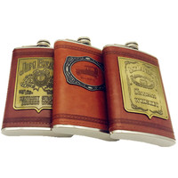 9oz Whisky Flagon Stainless Steel Alcohol Hip Flask T With Pu Leather