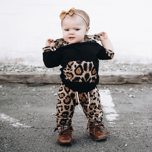 1df35d46bc26 Autumn Winter Infant Newborn Baby Girls Clothes Pocket Hooded Tops +Leopard  Print Leggings Outfit Baby Clothing Set BBC014