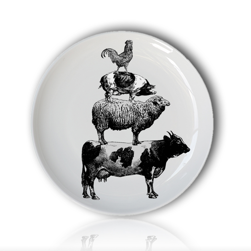 Retro Animal Hand Painted Plate Child Puzzle Dish Black Farm Animal Stack Funny Decorative Round Plate For Hotel/bar/home Supply