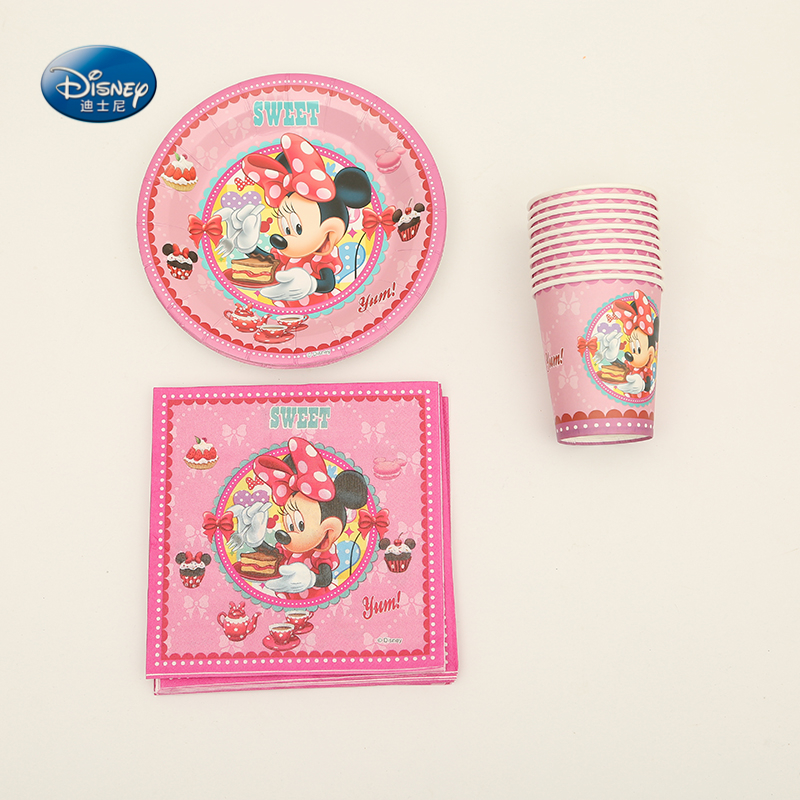 Disney Party Supplies 44pcs Minnie Mouse Theme Birthday Party Decoration Tableware Set Valentines day Party Decoration