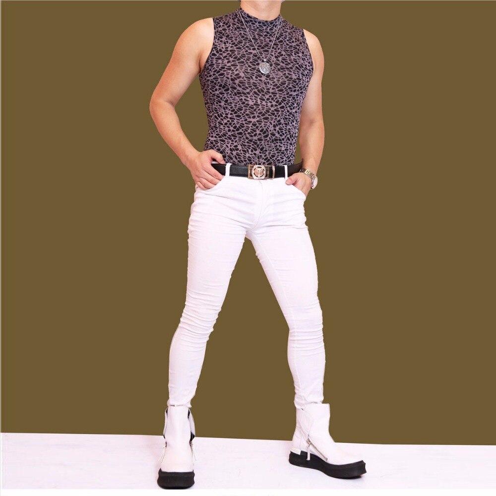 Men Plus Size Tight Jeans England Style Hair Stylist Trousers Slim Pencil Pants Boots Pants Male Gay Erotic Biker Jeans Legging