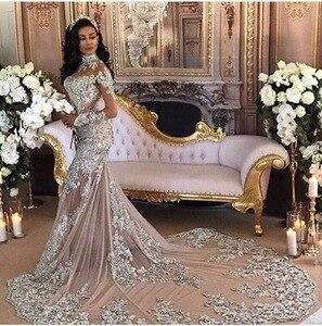 Image 1 - Manches longues perles de luxe robes de soirée formelles sirène fête Dubai femmes dentelle cristaux robes de soirée de bal