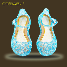 Baby Girls Beach Sandals Anna Elsa Princess Shoes Kids Cinderella's Crystal Shoes Carnival Cosplay Party Child High Heel Shoes