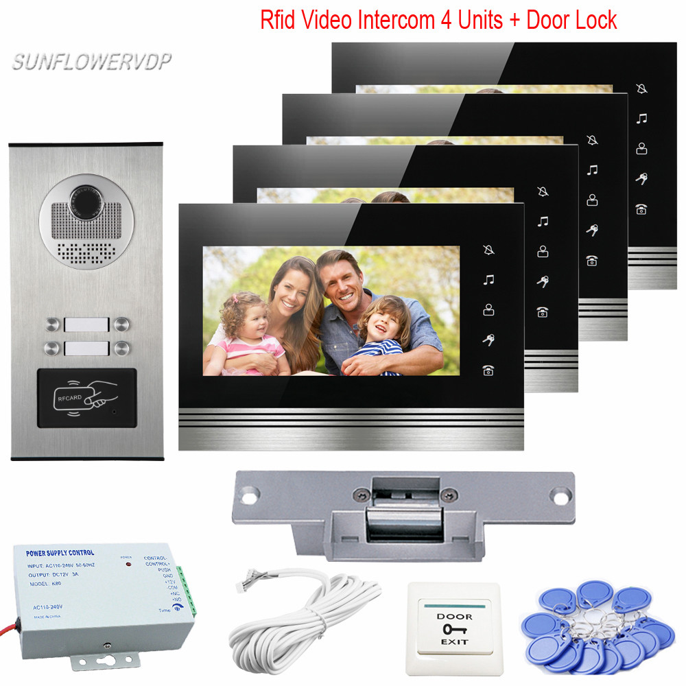 Access Control Home Video Door Phone 7 inches Monitors CCD 700TVL Rfid Door Bell Camera For 4 Apartment Electric Strike Lock Kit rfid reader doorbell camera for 10 apartment door bell 4 3 color monitors home intercom with electronic lock video doorman home