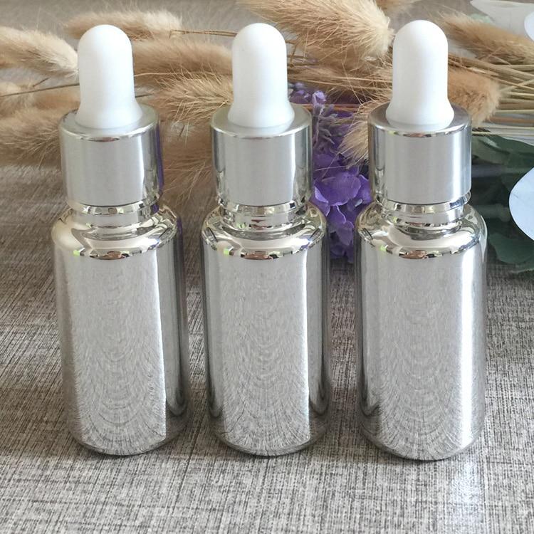 50 pecas lote 15 ml alta temperatura prata banhado frasco conta gotas recipiente conta gotas ml
