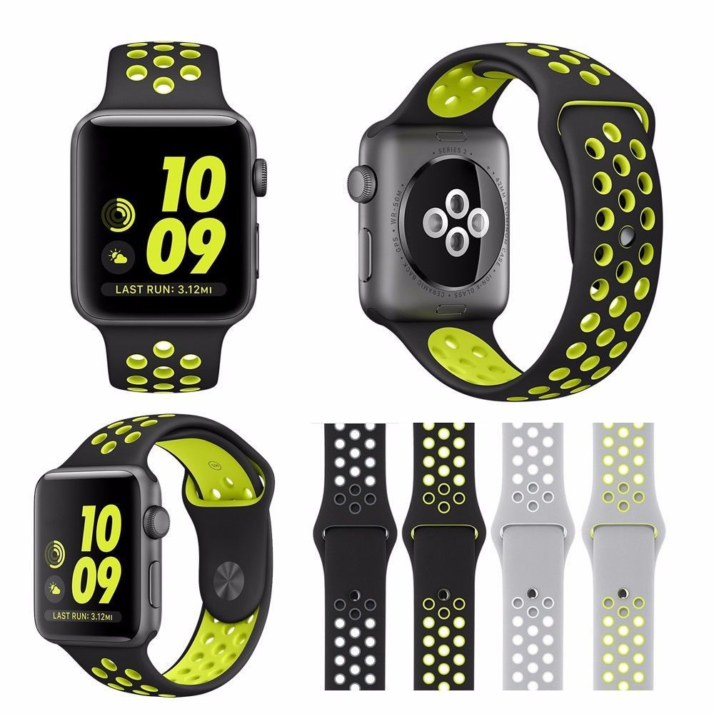 38mm 42mm Soft Silicone Sport Strap for Apple Watch Series 1 2 Light Flexible Breathable Replacement Band Watch Strap for iWatch 38mm 42mm soft silicone sport strap for apple watch series 1 2 light flexible breathable replacement band watch strap for iwatch