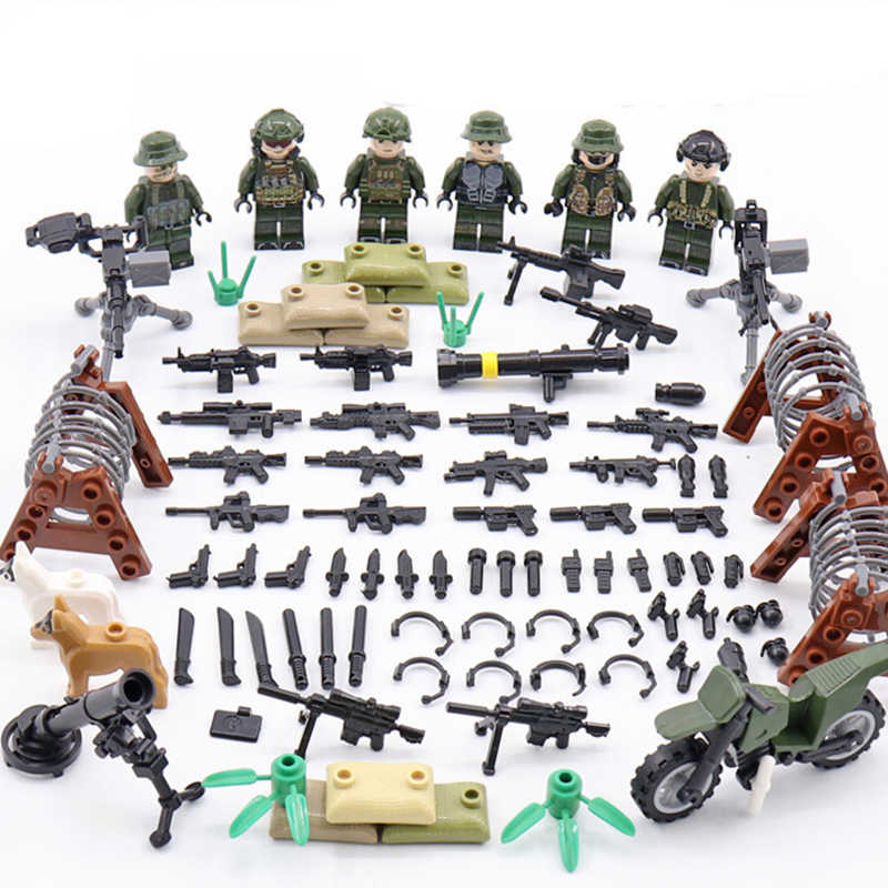 6pcs Legoing Army MILITARY Soldier Minifigure WW2 Special Forces Gun Weapon SWAT Building Blocks Bricks Figures Gifts Toys