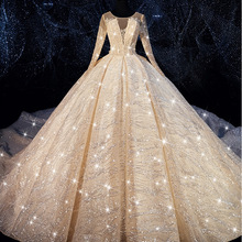 EBDOING Luxurious sequins Ball Gown Wedding Dress O Neckline Vestidos De Novia Plus Size Bride Dress Prom Wedding Gown