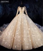 EBDOING الفاخرة الترتر الكرة ثوب الزفاف يا العنق Vestidos دي Novia زائد حجم فستان عروس حفلة موسيقية ثوب زفاف