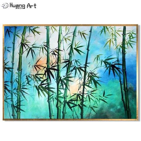 Estilo de Pintura Pintados à Mão Floresta de Bambu para Decoração de Casa Pintura a Óleo sobre Tela de Bambu Novo Moderna Paisagem Pinturas Sala Decor