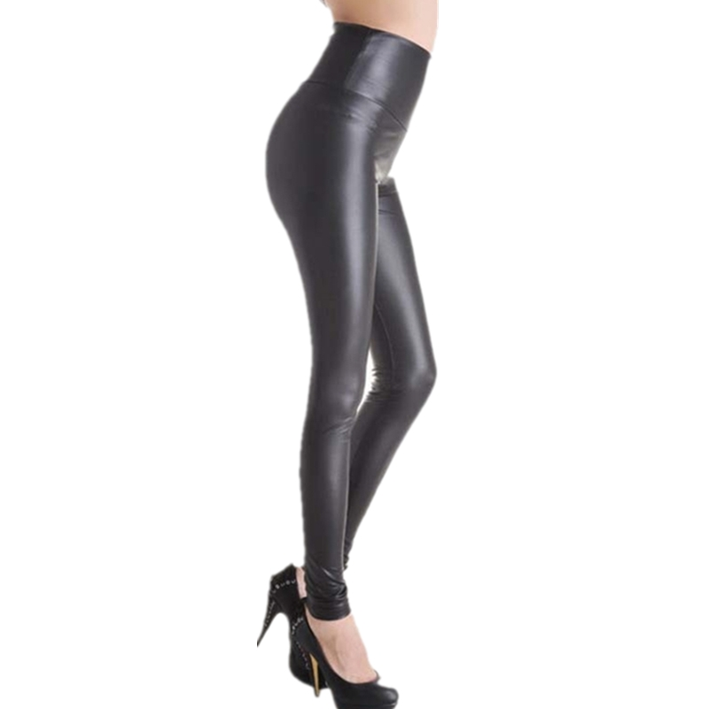 Image 4 - VISNXGI High Waist Faux Leather Leggings Women Hot Sexy Black Faux Leather Leggings Shiny Pants Stretchy Plus Size Trousers 2019-in Leggings from Women's Clothing