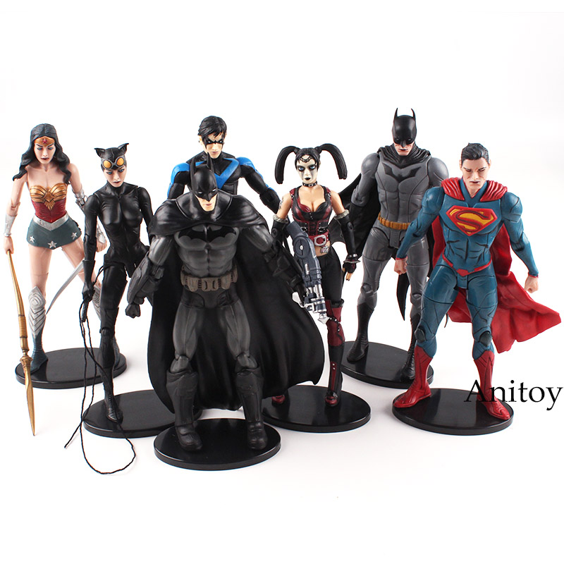 DC Comics несправедливость Лига рисунок Супермена, Бэтмена Nightwing Wonder Woman Харли Квинн Женщина-кошка фигурку игрушка в подарок 16,5 см