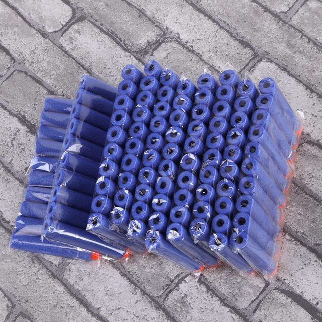 100pcs 7.2cm Soft Refill Bullet Darts Soft Head Safety Toy Gun EVA Bullets (Dark blue)