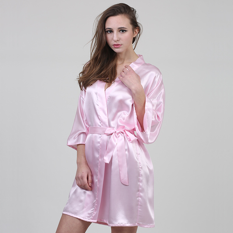 Spring New Women Silk Satin Night Robe Solid Fashion Bath Robe Sexy Three Quarter Woven Bathrobes Peignoir Femme Lingerie