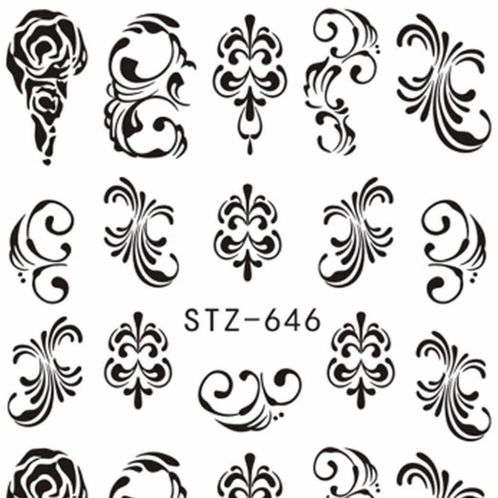 1 folha de flor 3d etiqueta da arte do prego beleza diy decalque do prego envolve manicure tatoos