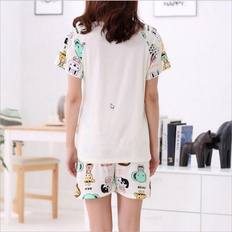 Newest Men/Women fashion cartoon animals printing Round Neck Short sleeved shorts Sleepwear Summer Couple Leisure Pajamas stes