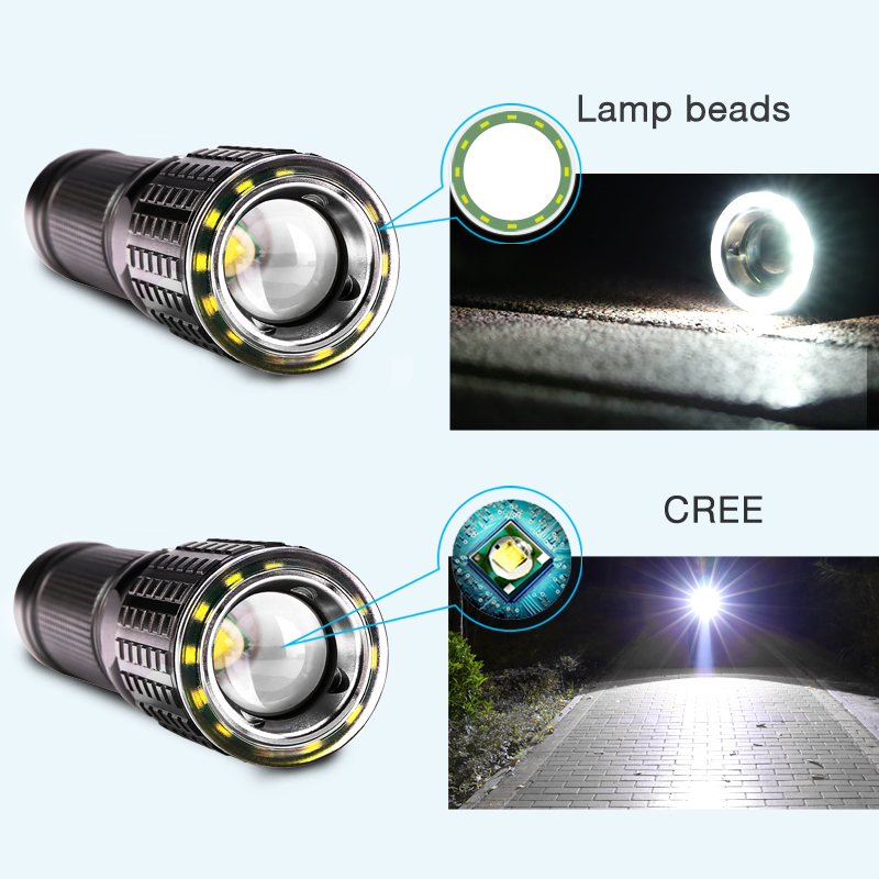 YAGE usb Zoombar lommelykt 10W Cree T6 + 12 * COB LED 18650 26650 Led - Bærbar belysning - Bilde 2