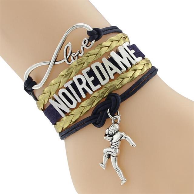 Бесконечная любовь Нотр-Дам футбольная команда колледж браслет золотой темно-синий индивидуальный браслет браслеты дружбы