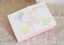 Butterfly printed white craft paper gift packages cardboard box baby shower wedding gift box carton box(China)