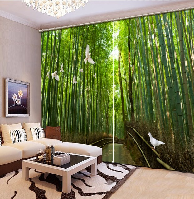 chinese curtains customize 3d curtains Bamboo forest pigeon landscape  curtains for living room kitchen blackout curtains
