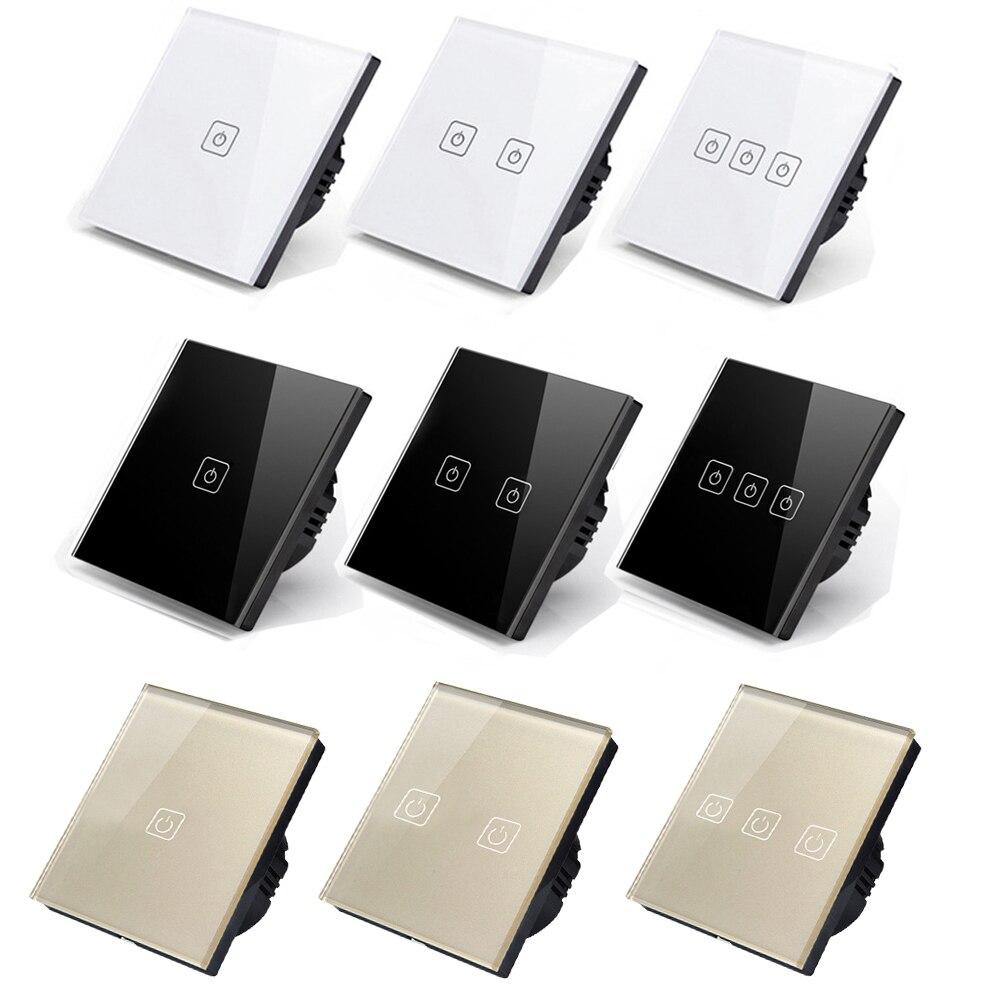 BONDA echten EU/British standard AC110V ~ 240 v einzelnen feuer linie luxus kristall glas panel touch bildschirm wand licht schalter