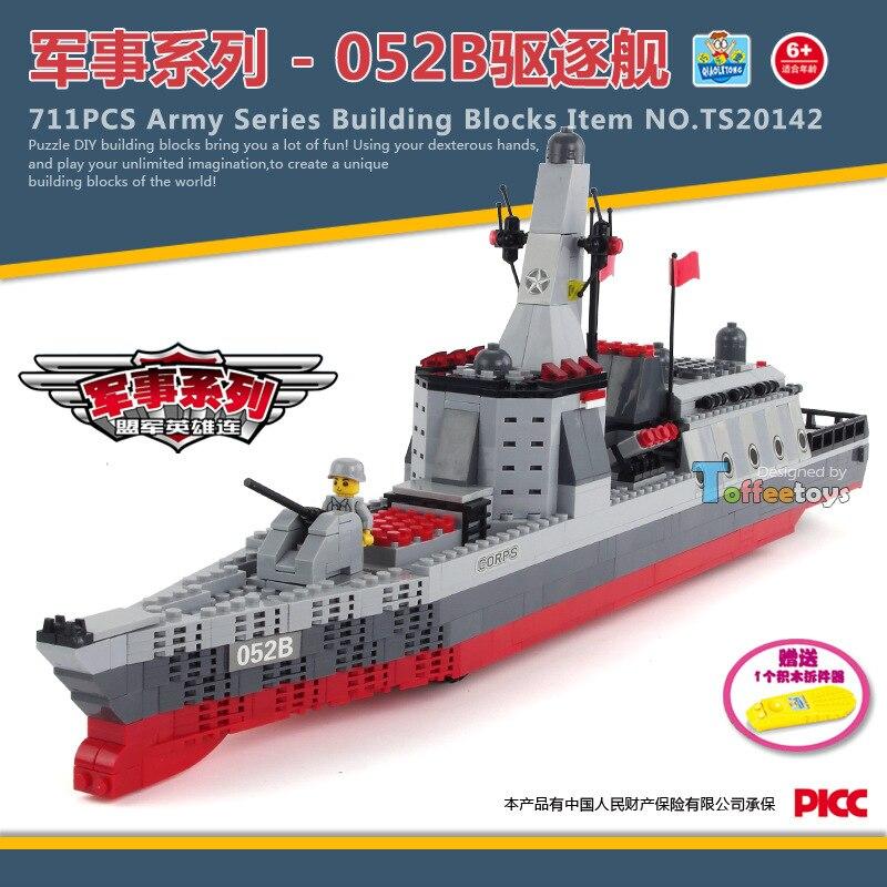 ФОТО 711pcs Aircraft carrier battle group Chaser Building Blocks set Bricks Construction Enlighten Toys For Children Gift
