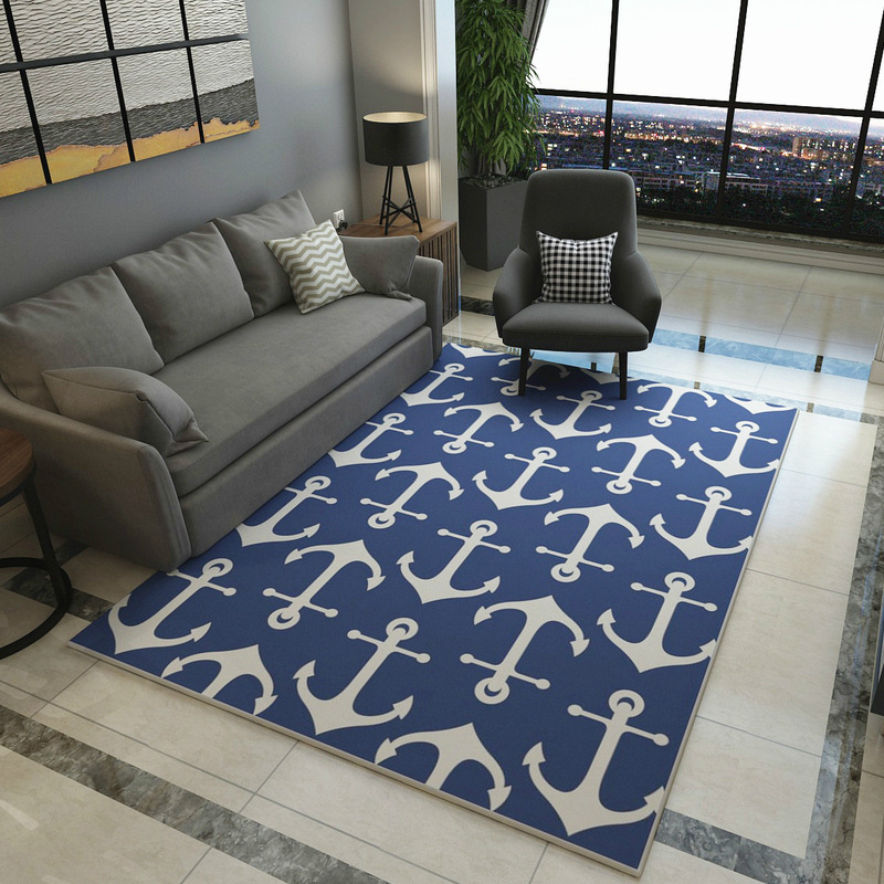 Mediterranean Blue style Carpets Living room coffee table Anchor pattern Printed Rug Modern bedroom Super Soft Flannel Carpet - 3