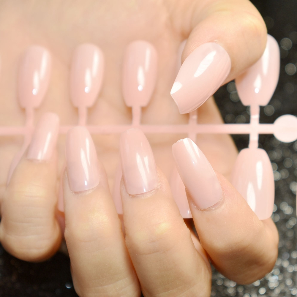 24pcs nude pink pure color Coffin Nails False Nail Full Cover Flat ...