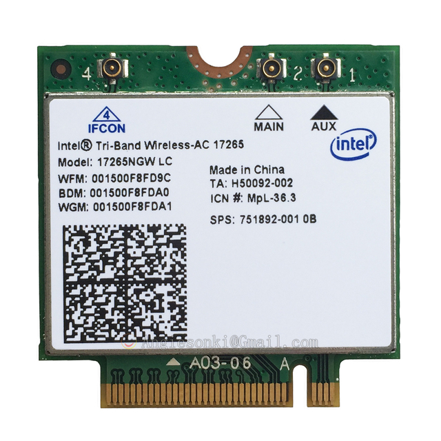 Wireless-AC 17265 17265NGW SPS 751892-001 802.11ac Ad NGFF 4.7Gbps 867M