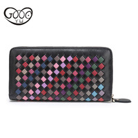 Fashion Leather Men And Women Long Section Sheepskin Wallet Cross Section Square Geometric Pattern Holding Bag