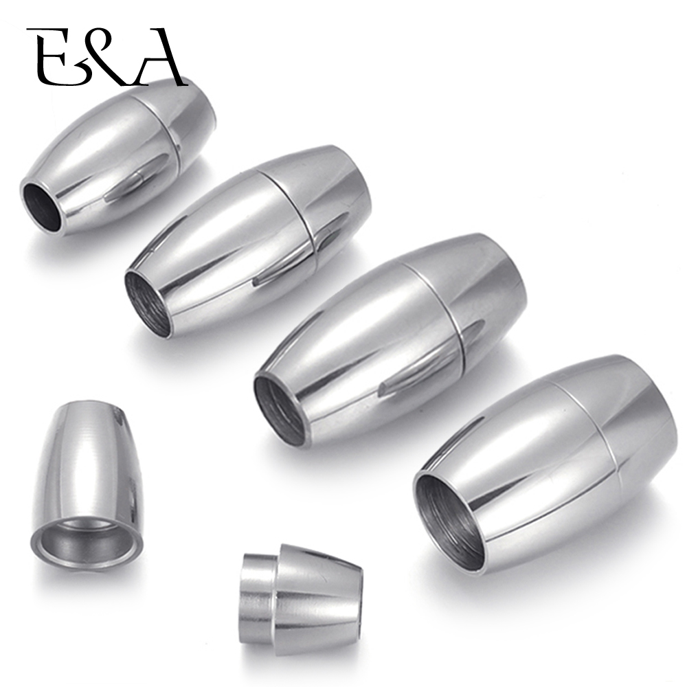Stainless Steel Magnetic Clasps Hole 4mm 5mm 6mm 8mm Leather Cord Clasp Magnet Buckle for DIY Bracelet Jewelry Making Supplies
