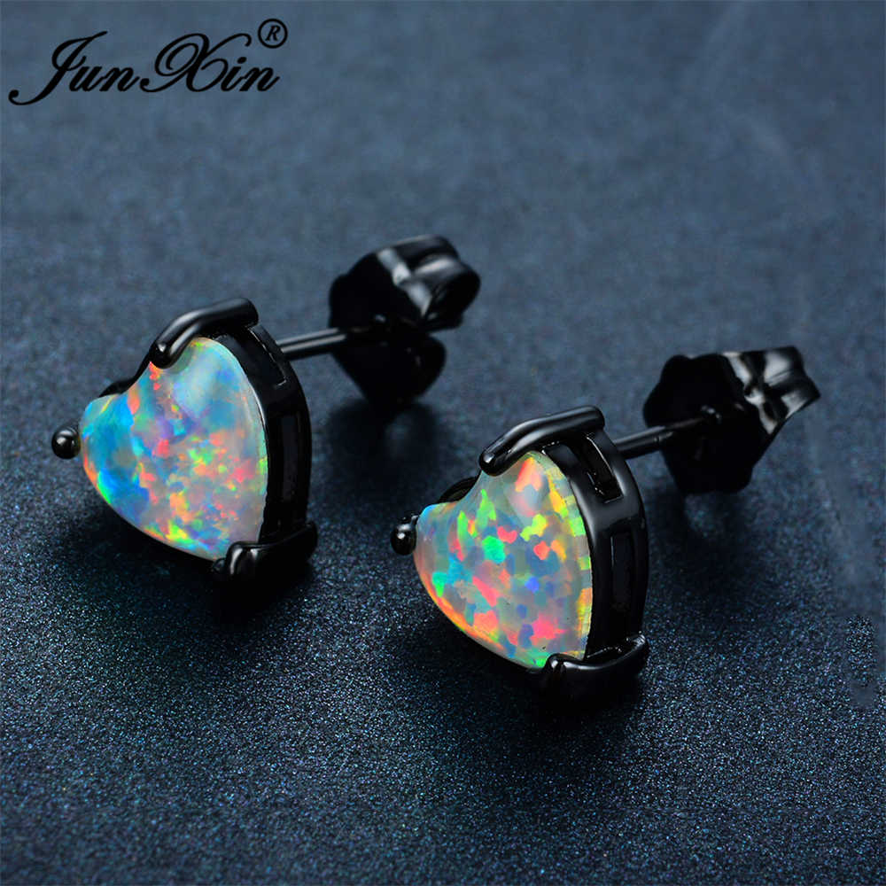 JUNXIN Fashion Female Small Heart Earring White Fire Opal Stud Earring Black Gold Filled Jewelry Double Sided Earrings For Women