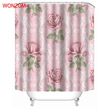 WONZOM Flower Modern Polyester Pink Rose Waterproof Shower Curtains For Bathroom Fabric Elegant Bath Curtain With Hooks Gift