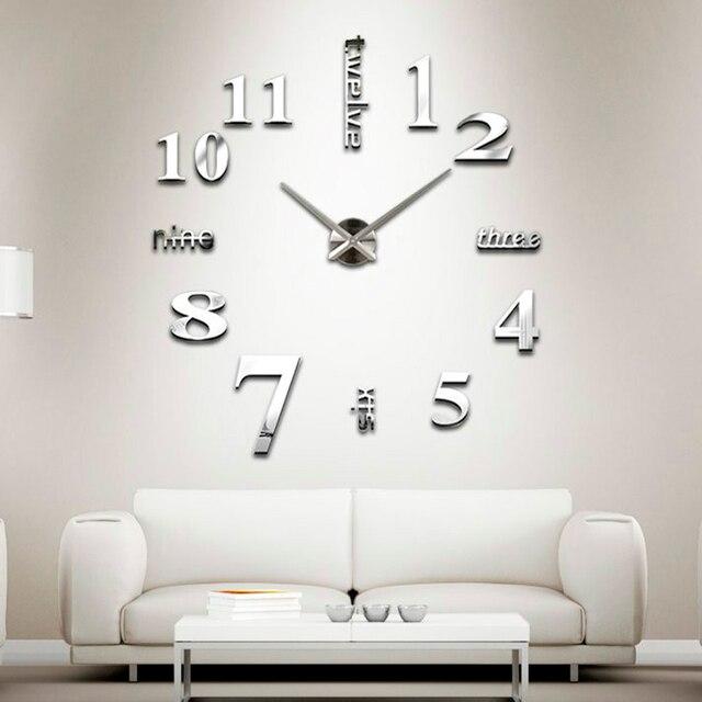 creative wall clock new 2016 interior modern stylish analog plastic silver decoration